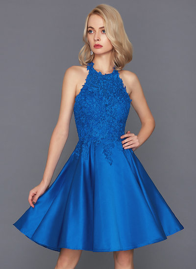 A-Line/Princess Halter Knee-Length Satin Cocktail Dress
