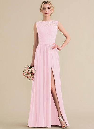 A-Line/Princess Scoop Neck Floor-Length Chiffon Lace Bridesmaid Dress With Split Front