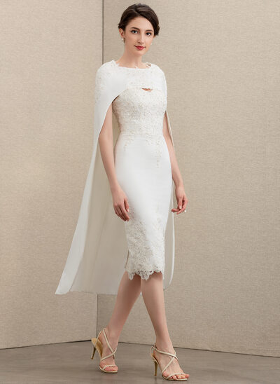 Sheath/Column Sweetheart Knee-Length Lace Stretch Crepe Mother of the Bride Dress With Beading