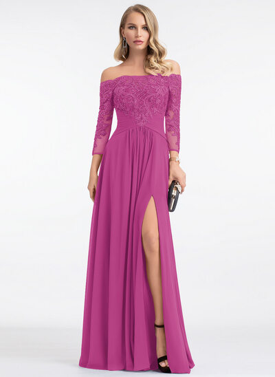 A-Line Off-the-Shoulder Floor-Length Chiffon Evening Dress With Beading Sequins Split Front