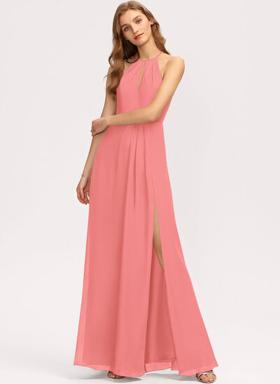 A-Line Scoop Neck Floor-Length Chiffon Bridesmaid Dress With Ruffle Split Front