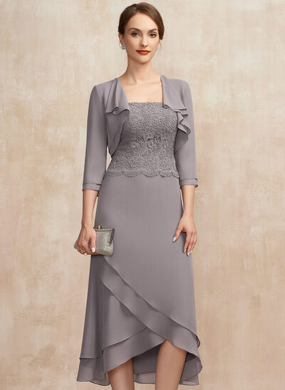 A-Line Square Neckline Asymmetrical Chiffon Lace Cocktail Dress With Cascading Ruffles
