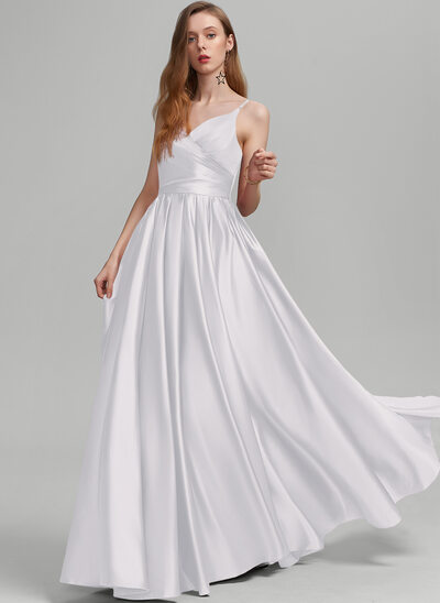 A-Line V-neck Floor-Length Satin Prom Dresses With Ruffle Pockets