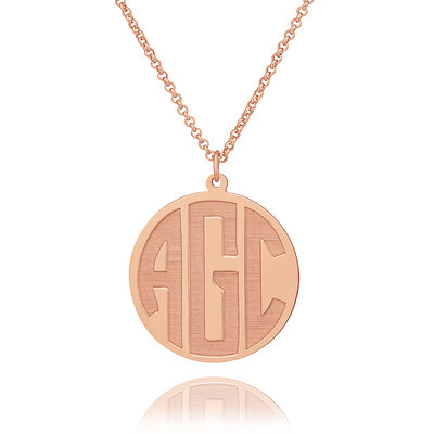 Christmas Gifts For Her - Custom 18k Rose Gold Plated Silver Letter Circle Coin Three Initial Necklace Circle Necklace