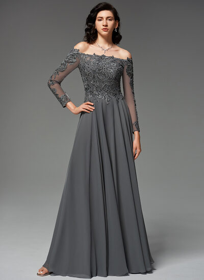 A-Line Off-the-Shoulder Floor-Length Chiffon Evening Dress With Beading Sequins
