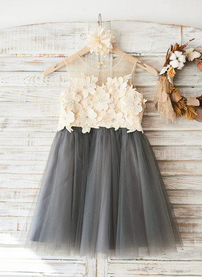 Princesový Po kolena Flower Girl Dress - Tyl/Krajka Bez rukávů Scoop Neck