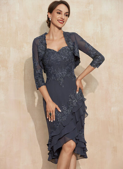 Sheath/Column Sweetheart Asymmetrical Chiffon Lace Cocktail Dress With Sequins Cascading Ruffles