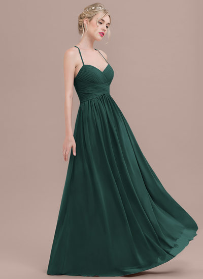 A-Line Sweetheart Floor-Length Chiffon Prom Dresses With Ruffle
