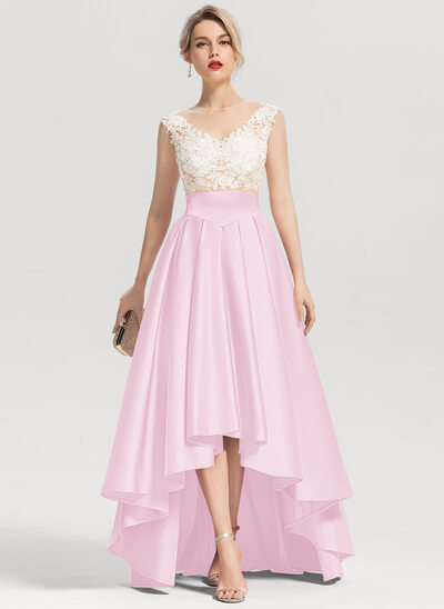 A-Line Scoop Neck Asymmetrical Satin Evening Dress With Beading