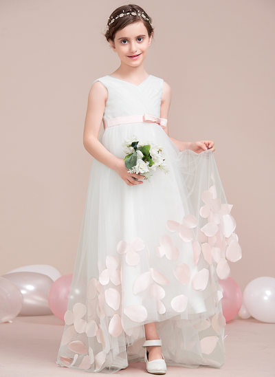 A-Line/Princess Asymmetrical Flower Girl Dress - Tulle Sleeveless V-neck With Ruffles/Appliques/Bow(s)