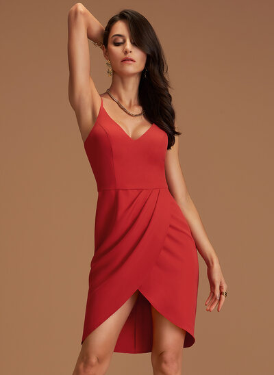Sheath/Column V-neck Stretch Crepe Bridesmaid Dress