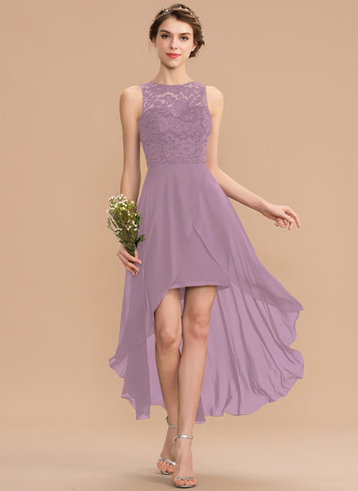 A-Line Scoop Neck Asymmetrical Chiffon Lace Cocktail Dress