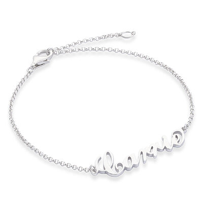 Custom Sterling Silver Link & Chain Bridesmaid Bracelets Name Bracelets