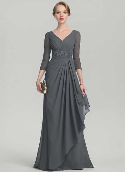 A-Line/Princess V-neck Sweep Train Chiffon Evening Dress With Beading Sequins Cascading Ruffles