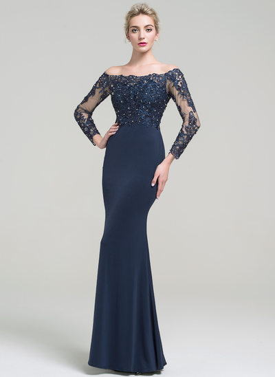 Trumpet/Mermaid Off-the-Shoulder Floor-Length Jersey Evening Dress With Beading Sequins