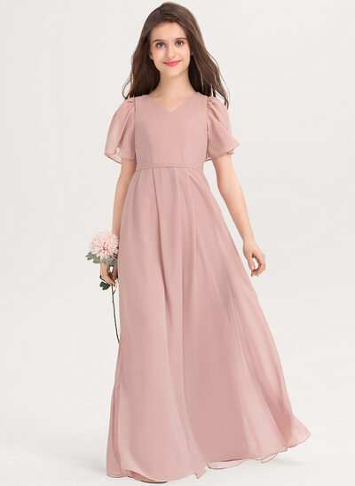 A-Line V-neck Floor-Length Chiffon Junior Bridesmaid Dress With Bow(s)