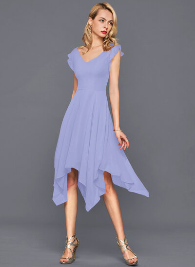 A-Line V-neck Asymmetrical Chiffon Cocktail Dress With Cascading Ruffles