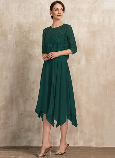 A-Line Scoop Neck Tea-Length Chiffon Lace Cocktail Dress With Bow(s)