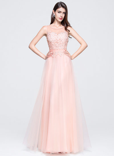 A-Line/Princess Scoop Neck Floor-Length Tulle Prom Dresses With Beading Appliques Lace Sequins