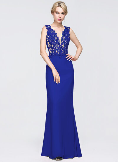 Sheath/Column V-neck Floor-Length Chiffon Prom Dresses With Beading Sequins