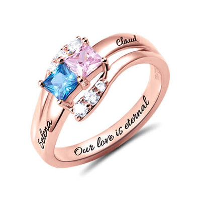 Personalized Elegant S925 Sliver Cubic Zirconia/Birthstone Rings For Bride/For Friends/For Couple