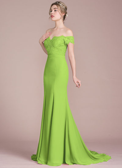 Trumpet Mermaid Off The Shoulder Court Train Chiffon Lace Bridesmaid Dress With Beading