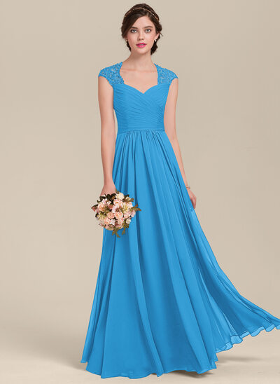 A-Line Sweetheart Floor-Length Chiffon Lace Bridesmaid Dress With Ruffle Beading