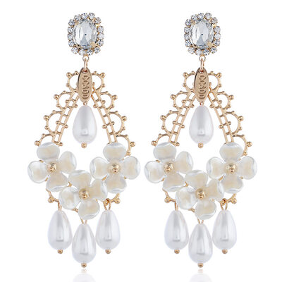 Ladies' Elegant Alloy Rhinestone/Imitation Pearls Earrings For Bride