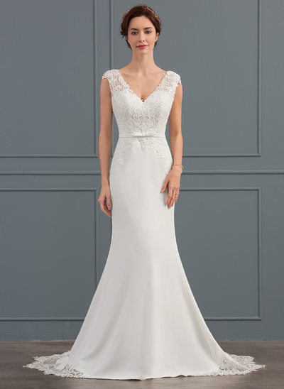 Trumpet/Mermaid V-neck Court Train Stretch Crepe Wedding Dress With Sequins Bow(s)