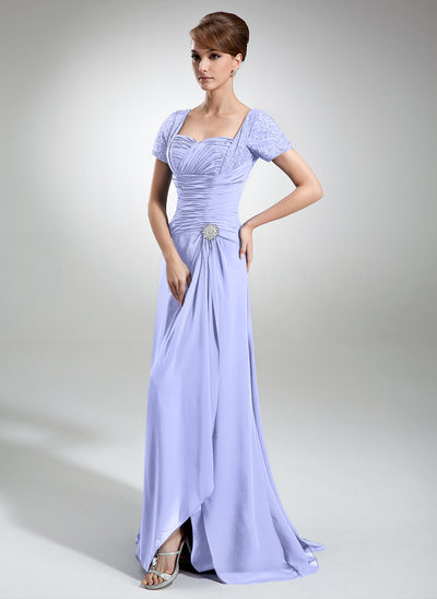 A-Line/Princess Sweetheart Sweep Train Chiffon Lace Mother of the Bride Dress With Crystal Brooch Split Front Cascading Ruffles