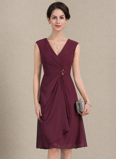 A-Line/Princess V-neck Knee-Length Chiffon Cocktail Dress With Beading Sequins Cascading Ruffles