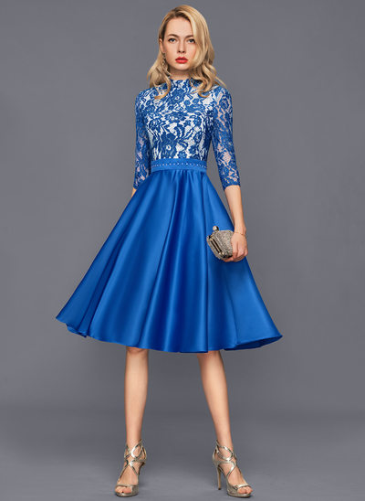 A-Line/Princess High Neck Knee-Length Satin Cocktail Dress With Beading
