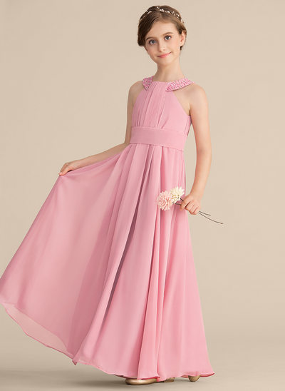 A-Line/Princess Scoop Neck Floor-Length Chiffon Junior Bridesmaid Dress With Ruffle Beading Sequins
