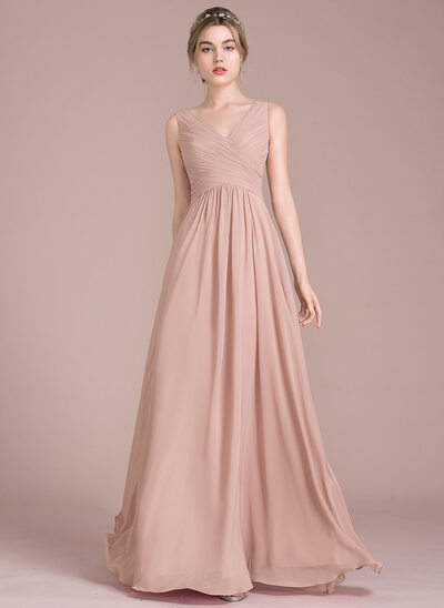 71e102e130 A-Line Princess V-neck Floor-Length Chiffon Bridesmaid Dress With Ruffle