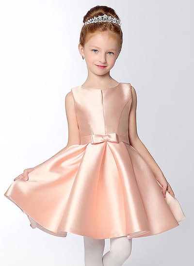 A-Line/Princess Short/Mini Flower Girl Dress - Satin Sleeveless V-neck With Bow(s)