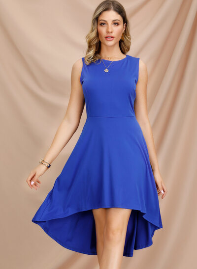 A-Line Scoop Neck Asymmetrical Mother of the Bride Dress