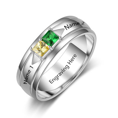 Elegant S925 Sliver Cubic Zirconia/Birthstone Rings For Bride/For Friends/For Couple