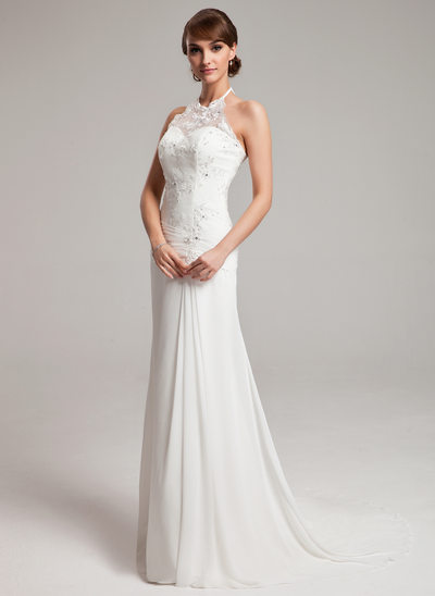 A Line Princess Halter Sweep Train Chiffon Tulle Wedding Dress With Ruffle Lace Beading
