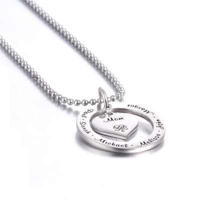 Personalized Ladies' Eternal Love 925 Sterling Silver Engraved Necklaces Necklaces For Bride/For Bridesmaid/For Mother/For Friends/For Couple