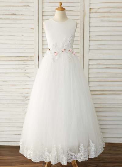 Ball-Gown/Princess Floor-length Flower Girl Dress - Satin/Tulle/Lace Sleeveless Scoop Neck With Flower(s)