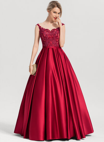 Ball-Gown Scoop Neck Floor-Length Satin Evening Dress With Sequins