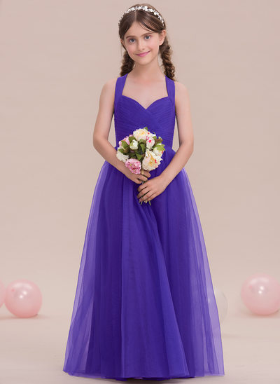 A-Line/Princess Sweetheart Floor-Length Tulle Junior Bridesmaid Dress With Ruffle