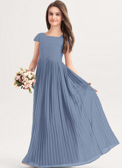 A-Line Square Neckline Floor-Length Chiffon Junior Bridesmaid Dress With Lace Bow(s) Pleated