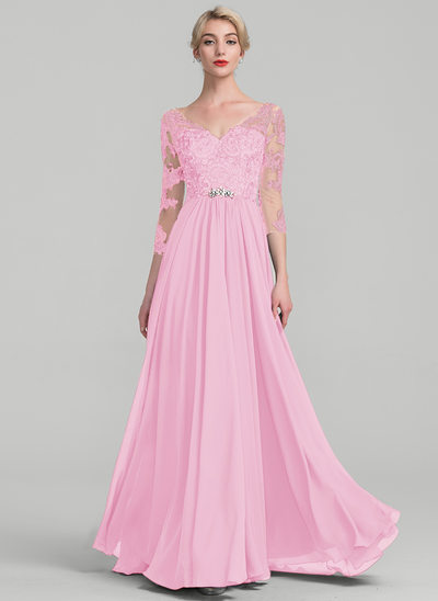A-Line/Princess V-neck Floor-Length Chiffon Lace Mother of the Bride Dress