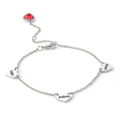 Custom Platinum Plated Delicate Chain Name Bracelets With Heart - Valentines Gifts For Her