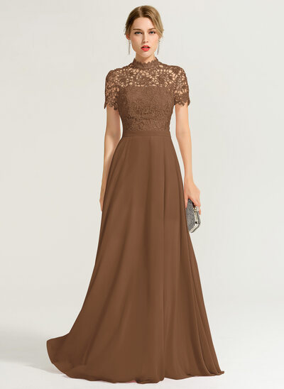 A-Line/Princess High Neck Floor-Length Chiffon Prom Dresses