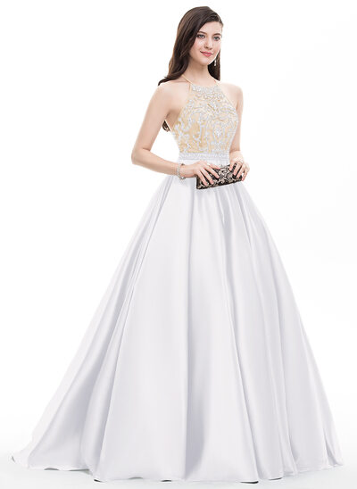 Ball-Gown/Princess Scoop Neck Sweep Train Satin Prom Dresses With Beading Sequins