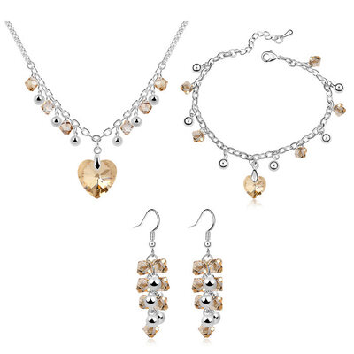 Ladies' Alloy/Platinum Plated With Heart Austrian Crystal Jewelry Sets For Bride/For Friends
