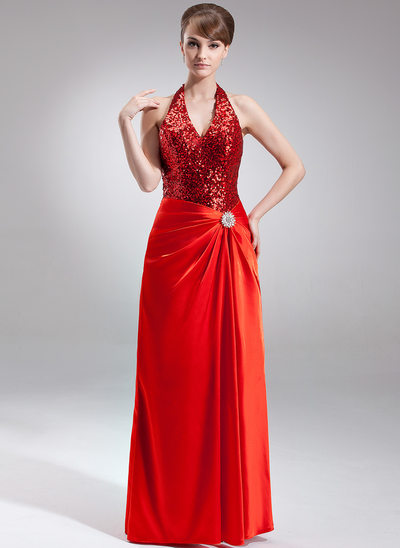 A-Line/Princess Halter Floor-Length Charmeuse Sequined Holiday Dress With Crystal Brooch