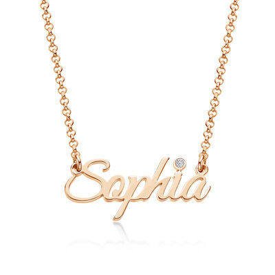 [Free Shipping]Custom 18k Rose Gold Plated Letter Name Necklace With Birthstone - Birthday Gifts (288250667)